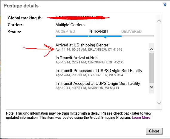 My item seems to be stuck at Erlanger, KY for more    - The eBay