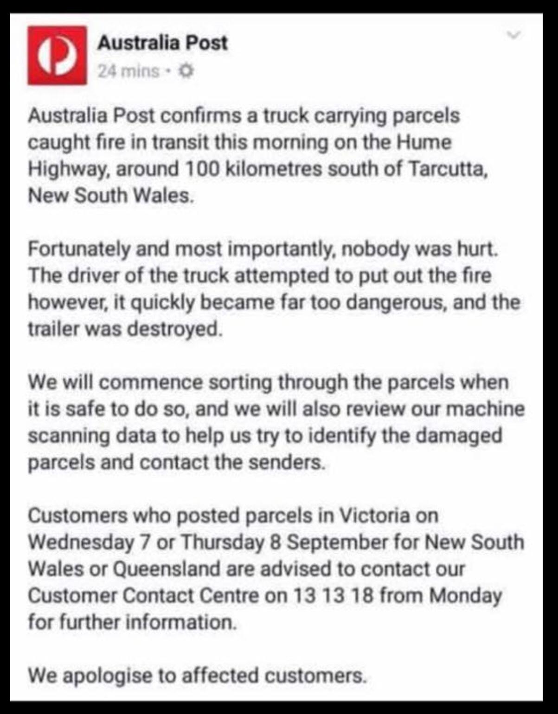 Aust Post parcel truck fire affecting VIC parcels     - The eBay