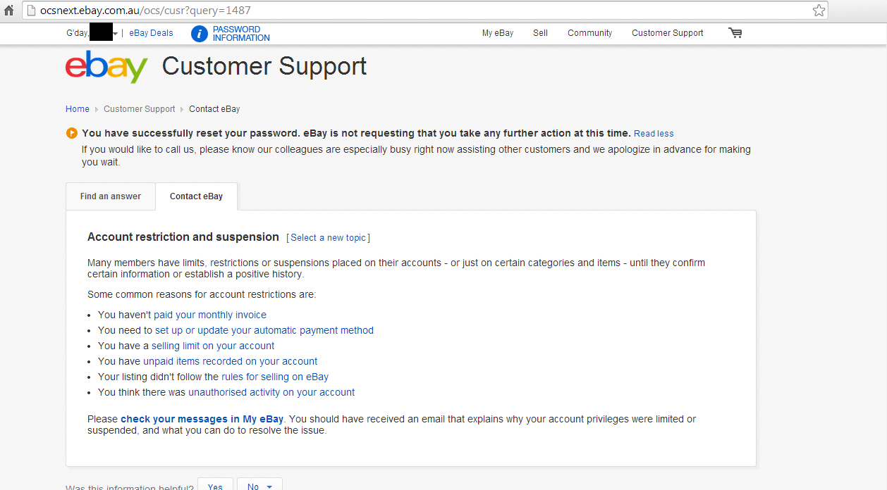 Can T Contact Ebay Account Suspended The Ebay Community