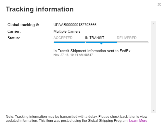 Ebay shipping tracking not updating